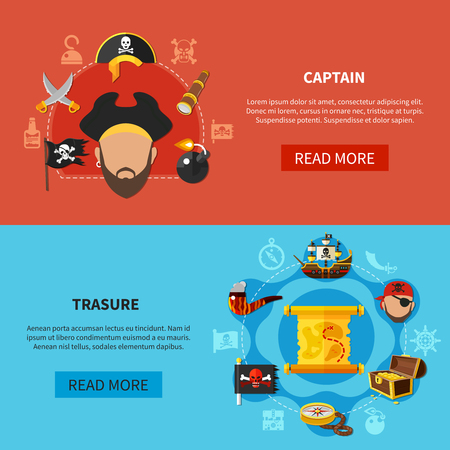 Set of horizontal cartoon banners with pirate captain, treasure map with chest of gold isolated vector illustration