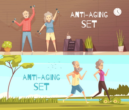 Longevity horizontal banners with two elderly couples busy in fitness and jogging cartoon vector illustration.
