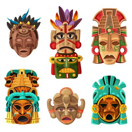 Kolorowa kreskówka maski Majów zestaw z plemiennymi i religijnymi elementami dekoracyjnymi rodzimych etnicznych na białym tle ilustracji wektorowych.