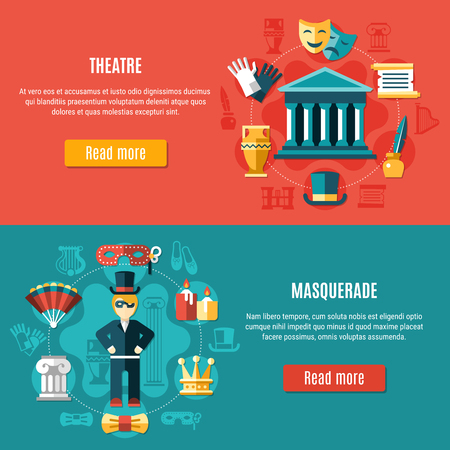 Two horizontal theatre banner set with masquerade and theatre headline and read more buttons vector illustration.