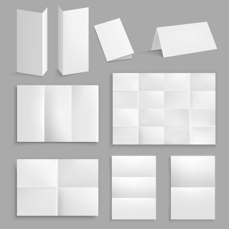 Folded paper realistic set with clear white unfolded paper of different sheet and section size vector illustration. Çizim