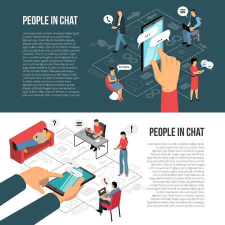 People chatting concept 2 horizontal isometric banners with infographic elements and informational text isolated vector illustration