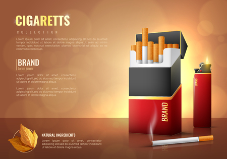 Tobacco products realistic poster with cigarettes brand symbols vector illustration