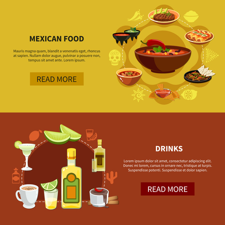 Set of horizontal banners with mexican food and drinks on maroon and sand background isolated vector illustration