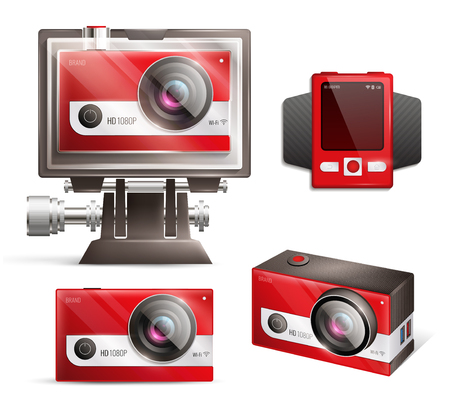 Action camera realistic set with shock resistant case isolated vector illustration. Иллюстрация