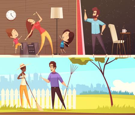 Vecinos hablando cerca de la cerca bailando con música a todo volumen e irritados por el ruido de las banderas horizontales ilustración vectorial de dibujos animados.