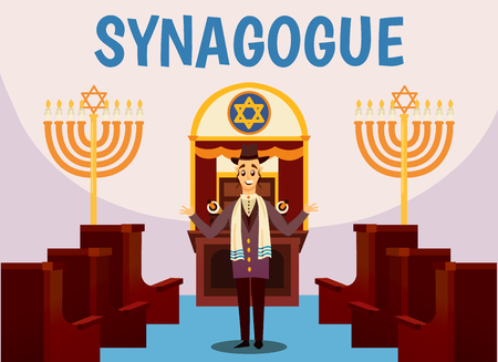 Cartoon jews characters composition with flat images of synagogue temple indoor interior with rabbi human character vector illustration.