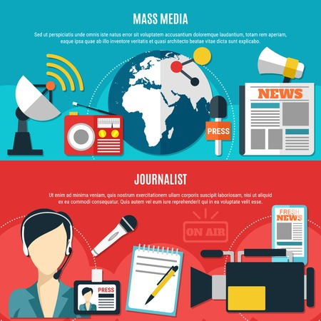 Mass media and journalist horizontal banners with classic journalist accessories and modern communication technology elements flat vector illustration. Illustration