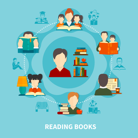 Adults and kids during reading printed and electronic books, round composition on blue background vector illustration