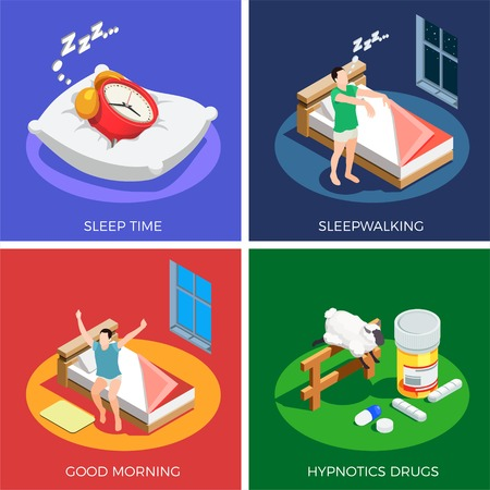 Sleep time isometric design concept with walking during dream, healthy awaking, hypnotics drugs isolated vector illustration