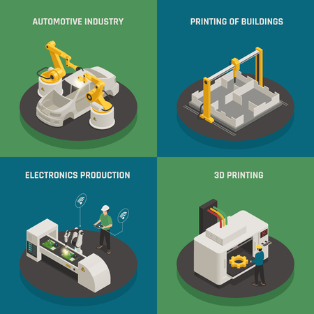 Intelligent manufacturing 4 isometric icons square concept with 3d printing and automated electronics production isolated vector illustration