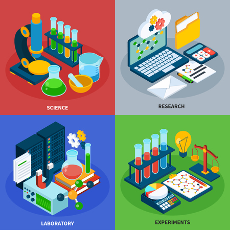 Science concept icons set with chemistry  symbols isometric isolated vector illustration Illustration