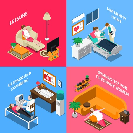 Isometric design concept with pregnant woman during gymnastics and leisure, ultrasound scan, maternity home isolated vector illustration