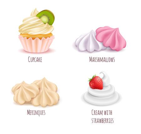 Conjunto de iconos realistas de postres de crema batida aislado con merengues de magdalena malvaviscos y crema con fresas ilustración vectorial