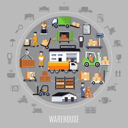 Warehouse round composition with storage building, staff, shelves with goods, transportation, inventory process, grey background vector illustration