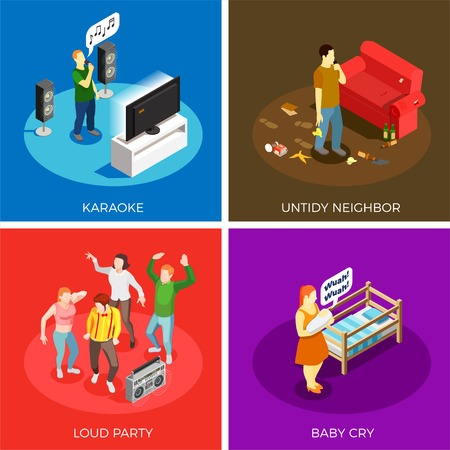 Neighbors relations isometric design concept with karaoke, untidy person, loud party, baby cry isolated vector illustration Illustration