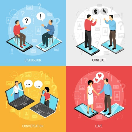 Chatrooms online 4 isometric icons concept with dating discussions arguing solving problems resolving conflicts isolated vector illustration Çizim