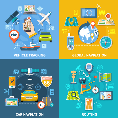 Navigation design concept with four compositions. Flat pictograms and icons with signboards gps satellites and gadgets, vector illustration. Vettoriali