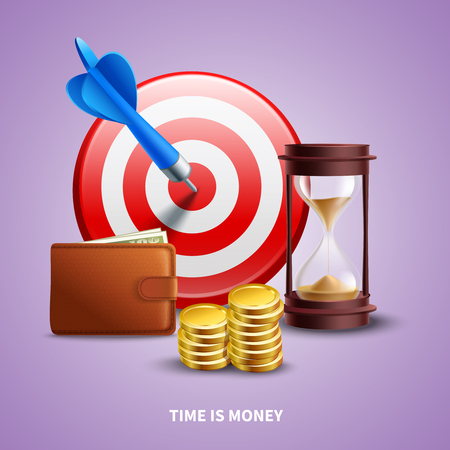 Business realistic concept with wallet hourglass coins and target vector illustration Stock Illustratie