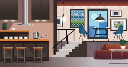 Modern kitchen bar table stools and living room interior design with furniture lighting wall decorations  vector illustration Illustration