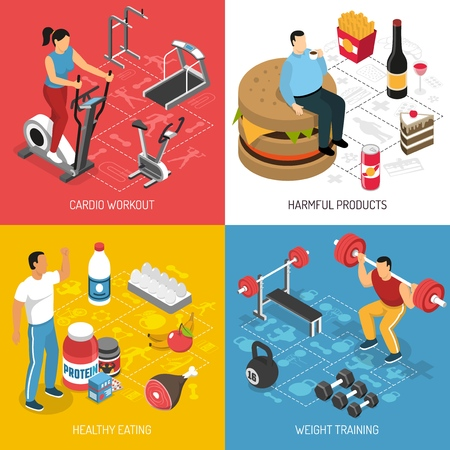 Fitness cardio workout strength training sport and healthy food choices concept 4 isometric icons isolated vector illustration  Ilustracja