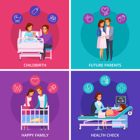 Pregnancy cartoon design concept with future parents, health check, childbirth, happy family with newborn isolated vector illustration Ilustração