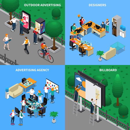 Advertising agency isometric design concept with designers at workplaces, street billboard, outdoor ad placard isolated vector illustration