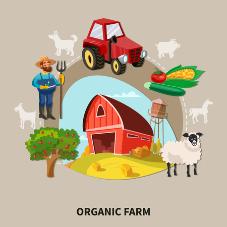 A Farm cartoon composition organic farm headline with buildings elements and equipment vector illustration