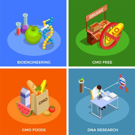 Genetically modified organisms isometric design concept with bio engineering, dna research, gmo foods isolated vector illustration Ilustrace