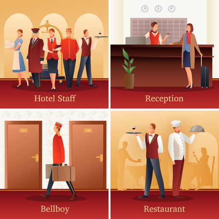 Hotel staff 4 flat gradient icons concept with with reception front desk clerk and bellboy isolated vector illustration  Illustration