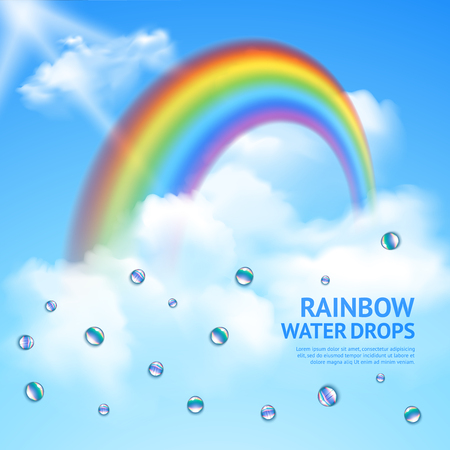 Rainbow hidden in clouds, abstract realistic poster with transparent drops of water and sun rays. Vector illustration. Illustration