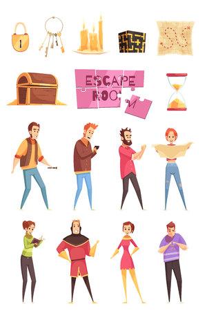 Beeldverhaal decoratieve die pictogrammen voor slim zoektochtspel worden geplaatst in echte geïsoleerde vectorillustratie Vector Illustratie