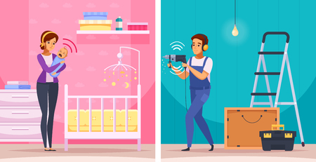 Sounds neighbors cartoon compositions including woman with crying newborn baby and apartment repair isolated vector illustration