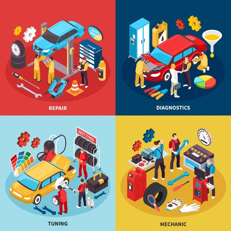 Auto service concept icons set with tuning and repair symbols isometric isolated vector illustration Illustration