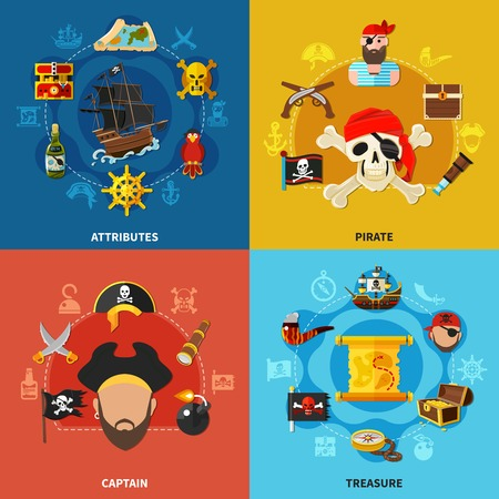 Pirate attributes, accessories of captain, treasure map and chest with gold, cartoon design concept isolated vector illustration