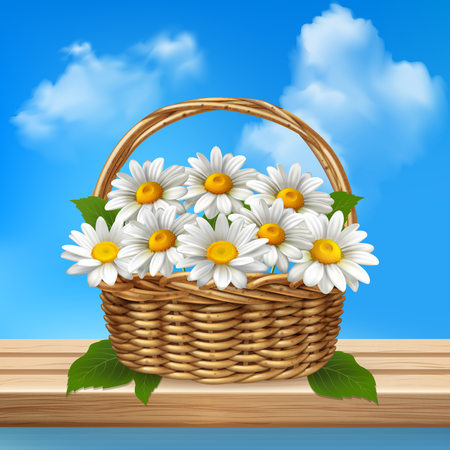 Daisy realistic colored composition wicker basket of flowers stands on a wooden bench vector illustration