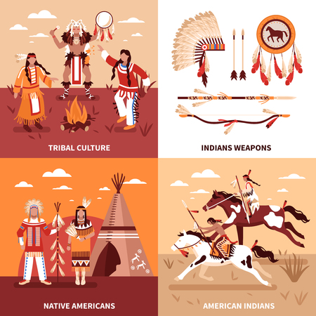 American indians 2x2 design concept set of tribal culture indian weapons native americans square icons flat vector illustration