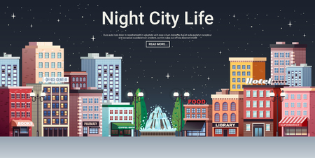 Night city life webpage poster with picturesque town center business office and shopping area houses vector illustration  Ilustração
