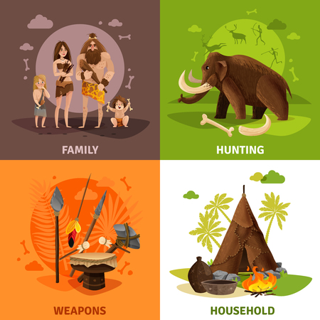 Prehistoric stone age 2x2 design concept with caveman family hunting weapons and household square icons cartoon vector illustration Ilustracja