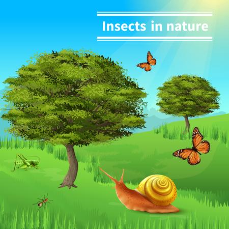 Insectes dans la nature format réaliste affiche composition avec des baies de fée papillons de l & # 39 ; abeille et des arbres vecteur illustration Banque d'images - 96311747