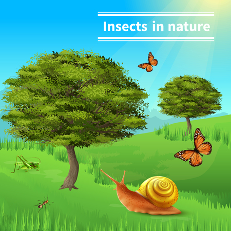 Insects in nature title realistic composition poster with grasshopper ants butterflies snail grass and trees vector illustration  일러스트