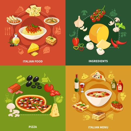 Italian food 2x2 design concept set of square icons for restaurant or cafe menu flat vector illustration 写真素材 - 96313234