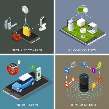 ホームアシスタント、通知、セキュリティシステム、リモートコントロール分離ベクトルイラストを使用したモノのアイソメトリックデザインコン