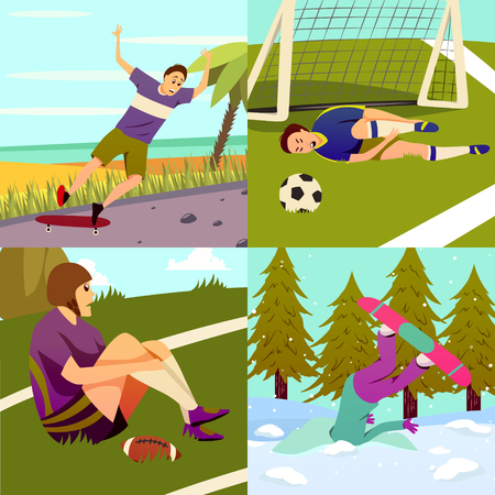 Sport injury flat colorful 2x2 design concept set of square compositions with different kinds of sport vector illustration Vectores
