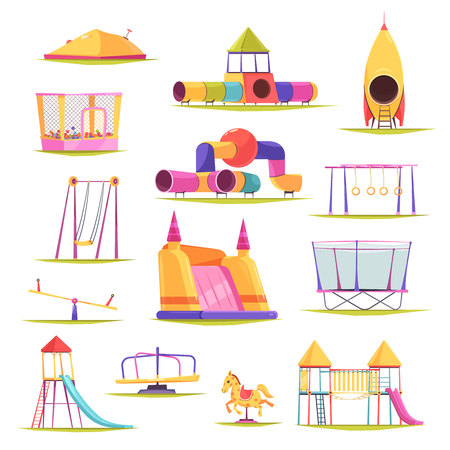 Children playground set with isolated images of colourful slippery dips swing sets and various constructions vector illustration