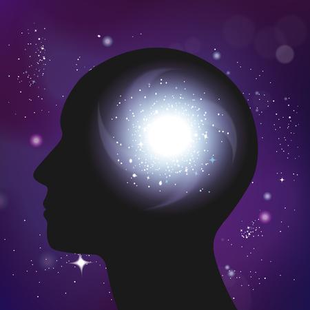 暗い人間の頭のシルエットと星団ベクトルイラストのオーバーレイ画像を持つ銀河心理学の概念現実的な構成  イラスト・ベクター素材