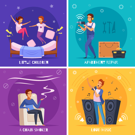 Neighbors cartoon design concept with little kids, apartment repair, chain smoker, loud music isolated vector illustration