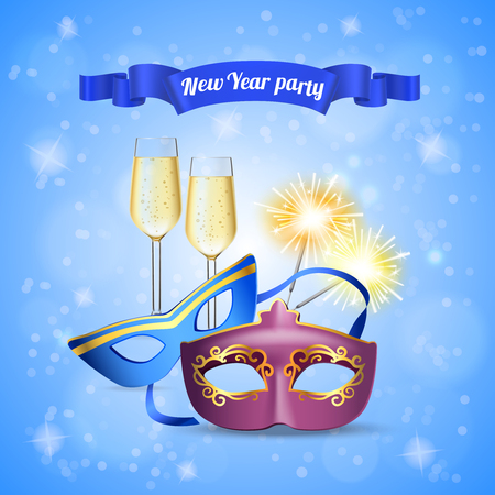New year party accessories realistic composition with champagne glasses eye masks bengal light sparklers invitation vector illustration