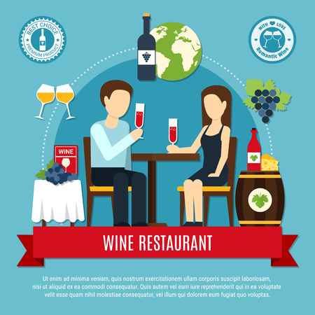 Man and woman degusting wine at restaurant on blue background flat vector illustration Ilustrace
