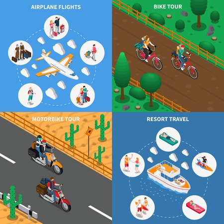 Traveling people isometric design concept with airplane flights, bicycle tour, motorbike journey, resort leisure isolated vector illustration